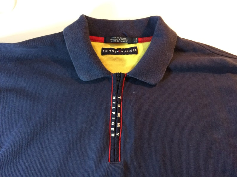 50982d1e Tommy Hilfiger 1985 Vintage Zipper Polo with Large LOGO | Etsy