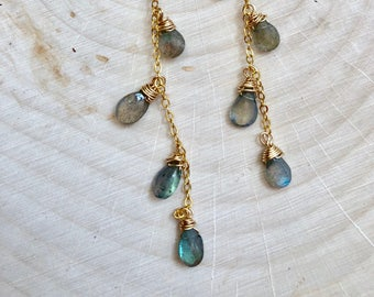 Chandelier Labradorite Sundance Inspired Earrings  #653