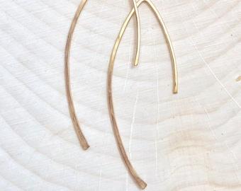 Gold Hammered Half Hoop Earrings #653