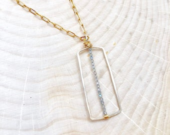 Long Layering Gold and Silver Labradotie Hammered Pendant #847