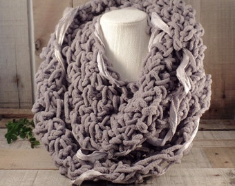 Urban Crochet Knit Infinity Scarf Pewter with Woven Silvery Sari Silk Item #556