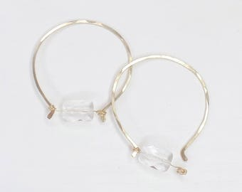 Unique Gold Hoop Crystal Quartz Earring #640
