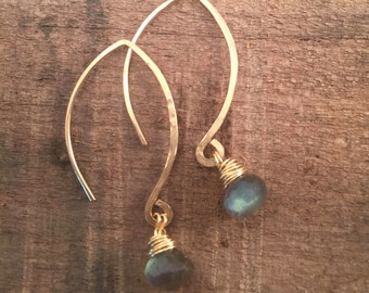 Simple Labradorite Gold Filled Earrings #635