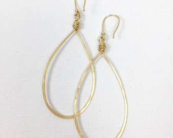 Gold Pear Shaped Hoop Earring Item #602