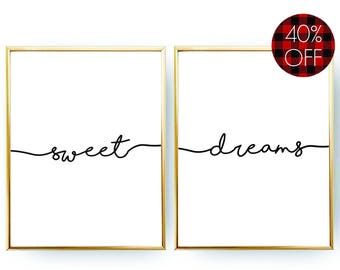 Sweet Dreams Print Typography Poster INSTANT DOWNLOAD Bedroom Decor Sweet Dreams Poster Bedroom Print Printable Wall Art Nursery Decor Gift
