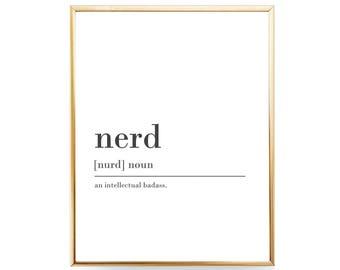 Funny Nerd Definition Printable Gift For Nerd Print Gift For Geek Gift Idea Nerd Humor Nerdy Gift Nerd Download INSTANT DOWNLOAD Definition
