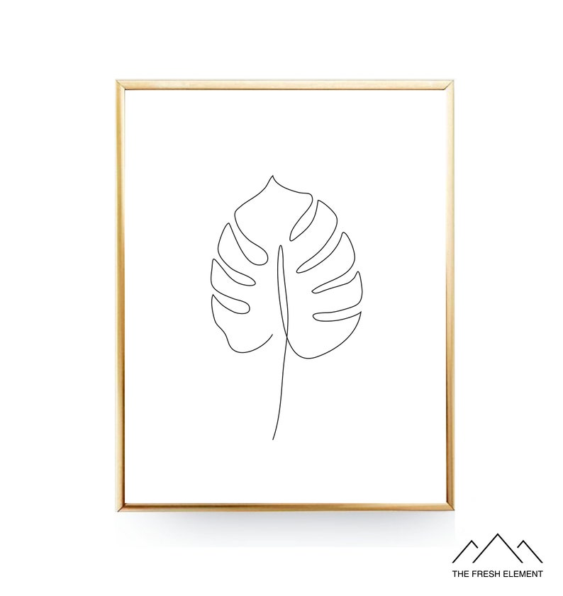 Monstera Leaf Print Minimalist Art Living Room Decor One Line Art Plant  Lovers Gift For Her Modern Art Scandinavian Print Bedroom Decor