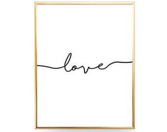 Love Script Printable Wall Art Printable Love Print Love Wall Art Love Poster Love Printable Minimalist Print First Apartment Gift For Her