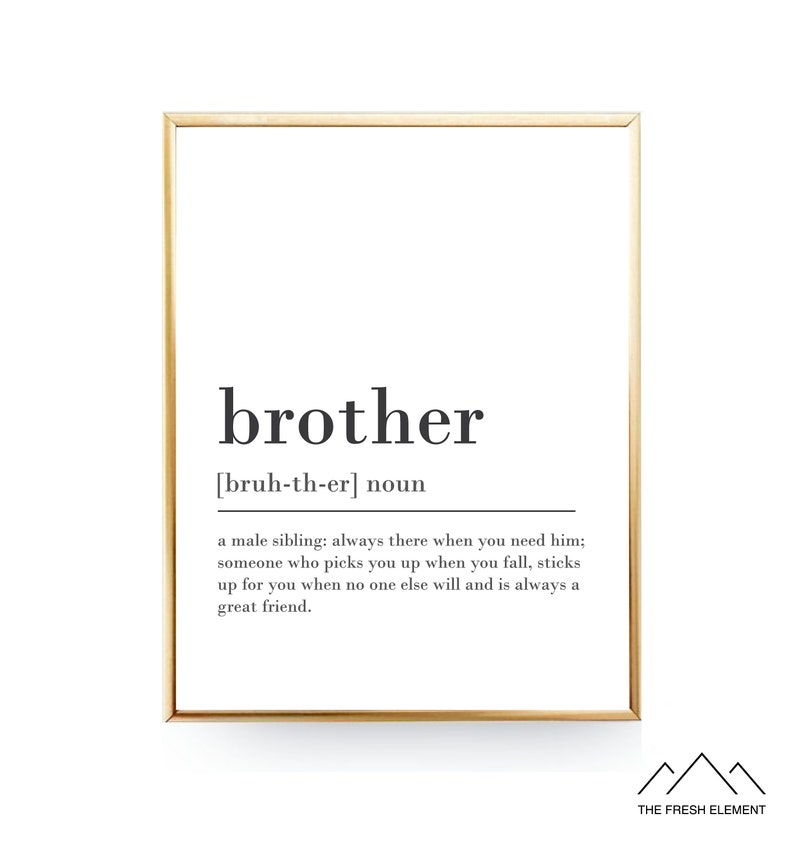 Brother Definition Print PRINTABLE GIFT For Gift