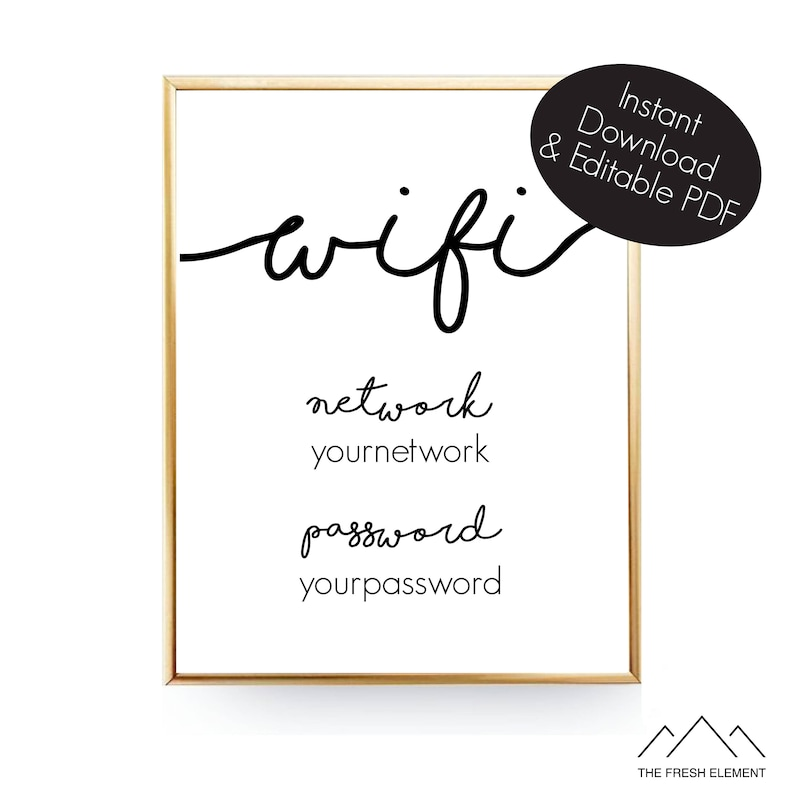 image regarding Wifi Password Printable named Editable Wifi Pword Indicator Wifi Printable Artwork Wifi Indicator Wifi Print Wifi Pword Printable Wifi Code Visitor Space Wifi 8x10 Prompt Obtain