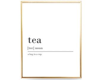 Tea Definition Print Tea Lover Gift Tea Printable Definition Tea Poster Tea Gift For Tea Lover Wall Art Kitchen Print Instant Download JPEG