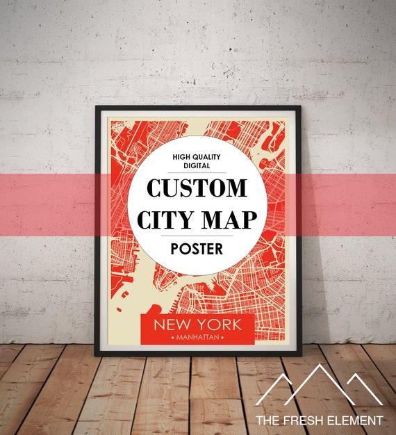 Personalized Map Art Anniversary Gifts for Travelers Custom City Map Custom  Map Print Map Printable Wall Art Digital Download Custom Map Art