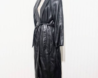 Vintage 1980's Women's Genuine Leather Coat Robe Style Belted Black Removable Quilted Liner
