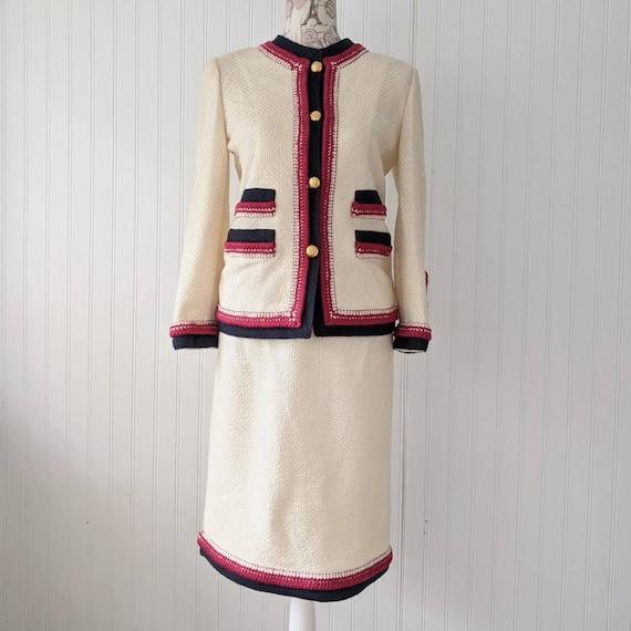 Vintage 1970s Adolfo Knit Boucle Suit Skirt and Ja