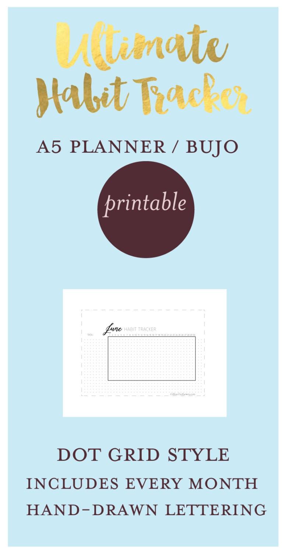 Printable A5 size HABIT TRACKER Bujo bullet journal Dot Grid | Etsy