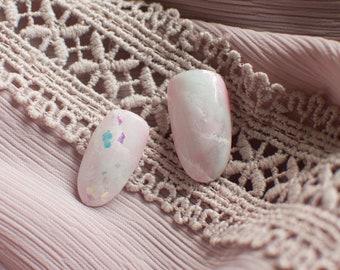 Pastel Marble Gradient Nails, Aurora Holographic, Japanese nails, kawaii, lolita nails, press on nails, acrylic nail