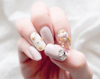Pastel Pink Gold 3D Bling Jewel Nails, kawaii, lolita nails, press on nails, acrylic nail, crystal cluster nail