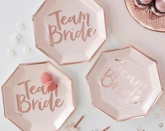 team bride plates team bride large plates bachelorette party plates team bride rose gold paper plates bridal shower plates