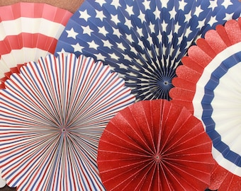 Red, White, and Blue Party Fan Set / 4th of July Party Decor / Patriotic Party Fans / Memorial Day Decor / American Flag Decor