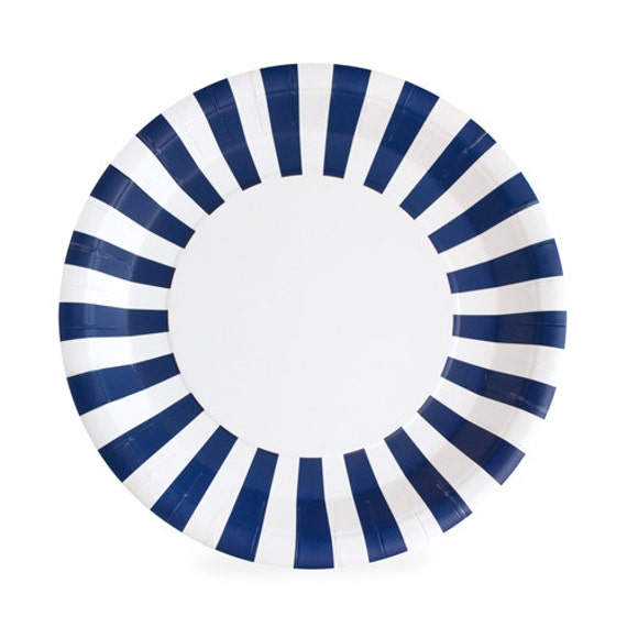 sc 1 st  Etsy & Navy Blue Dinner Plates / Navy Striped Paper Plates / Navy