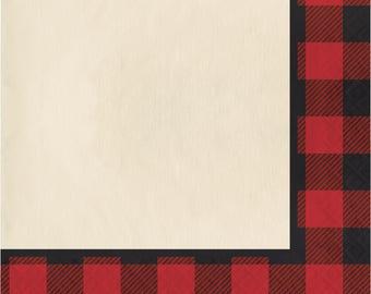 Lumberjack Paper Napkin / Lumberjack Baby Shower / Lumberjack Birthday Party / Buffalo Plaid Napkins / Buffalo Plaid Party