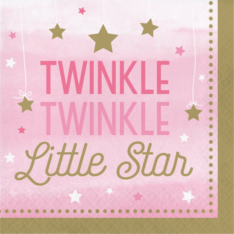 Twinkle Twinkle Little Star Pink and Gold Plates  Twinkle Party Plates  Its A Girl  Baby Girl/'s First Birthday  Baby Girl Twinkle Plates