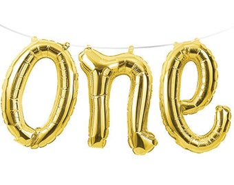 One Gold Balloon / First Birthday / Cake Smash Prop / Birthday Balloons / Gold Script ONE Balloon