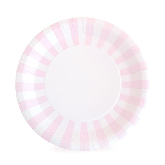 Light Pink Dinner Plates / Pink Paper Plates / Light Pink Striped Party Plates / Pink Striped Paper Plates / Pink Paper Plates from OhSoFancyParty on Etsy ...  sc 1 st  Etsy Studio & Light Pink Dinner Plates / Pink Paper Plates / Light Pink Striped ...