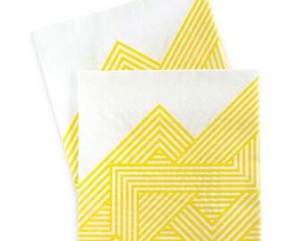 Yellow and White Napkins / Yellow and White / Yellow Pattern Napkins / Yellow Geo Pattern Napkins / Hello Yellow