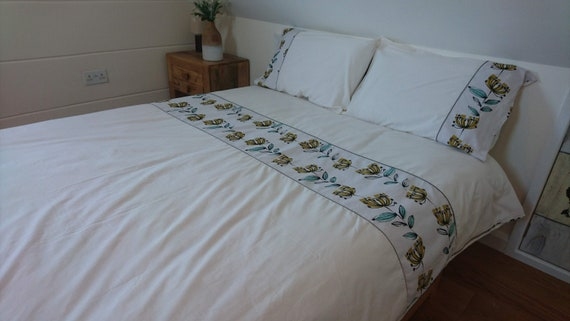 Double Duvet Cover With Zip Closure Opens Up On Three Etsy