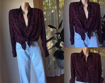 Vintage red and black blouse