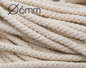 Ivory macrame cord 6mm Natural color braided cord 100% cotton cord Beige cotton rope Decoration rope Sew rope Bulky yarn / 10 m ( 10.9yds)