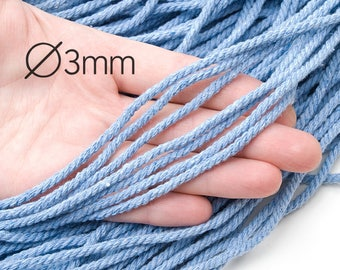 Blue pure cotton rope 3 mm Twisted cord Natural raw Blue cotton cord Drawstring rope Macrame cotton rope Macrame supplies / 10 m ( 10.9yds)