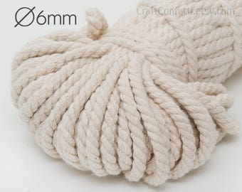 Beige cotton rope 6mm White cotton cord Cotton rope Natural twisted cotton rope Cream cotton rope Decoration rope Craft supplies / 5 meters