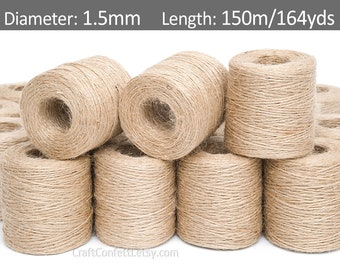 Craft Bulk String Rope Cording Light Blue Twisted Jute Twine Packaging 50 Yds Gift Wrap 2mm 2 Ply Premium Twine Ship from USA -4