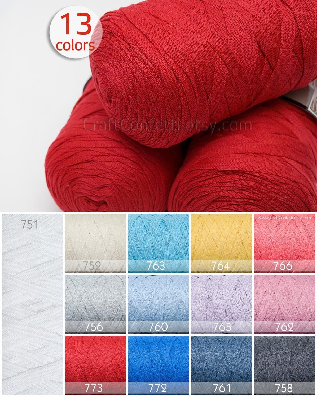Red ribbon yarn 8mm Cotton yarn Crochet chunky yarn Knitting cotton ...
