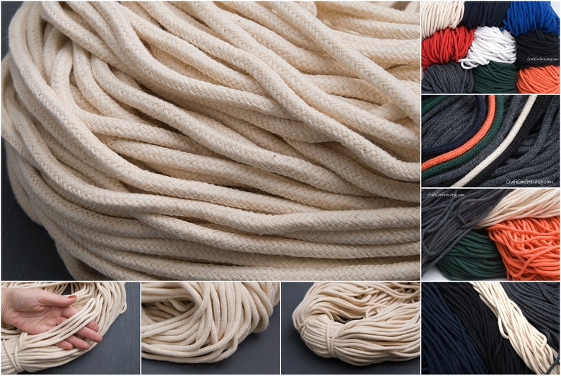 Natural sew cord Art weaving rope rope Drawstring soft cotton rope  10yd = 9m Red braided cord 5mm Macrame rope DIY craft supplies