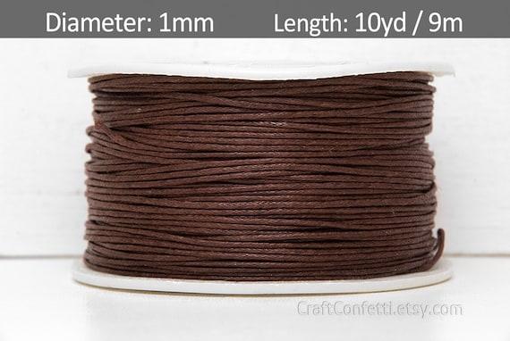 May Arts -451-33 1mm Waxed Cord Ribbon Brown 5 yds