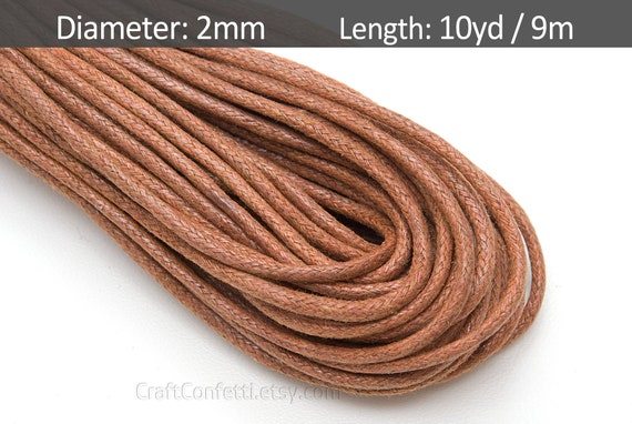 Dark Brown Round Waxed Cotton Cord 1mm 100 meters