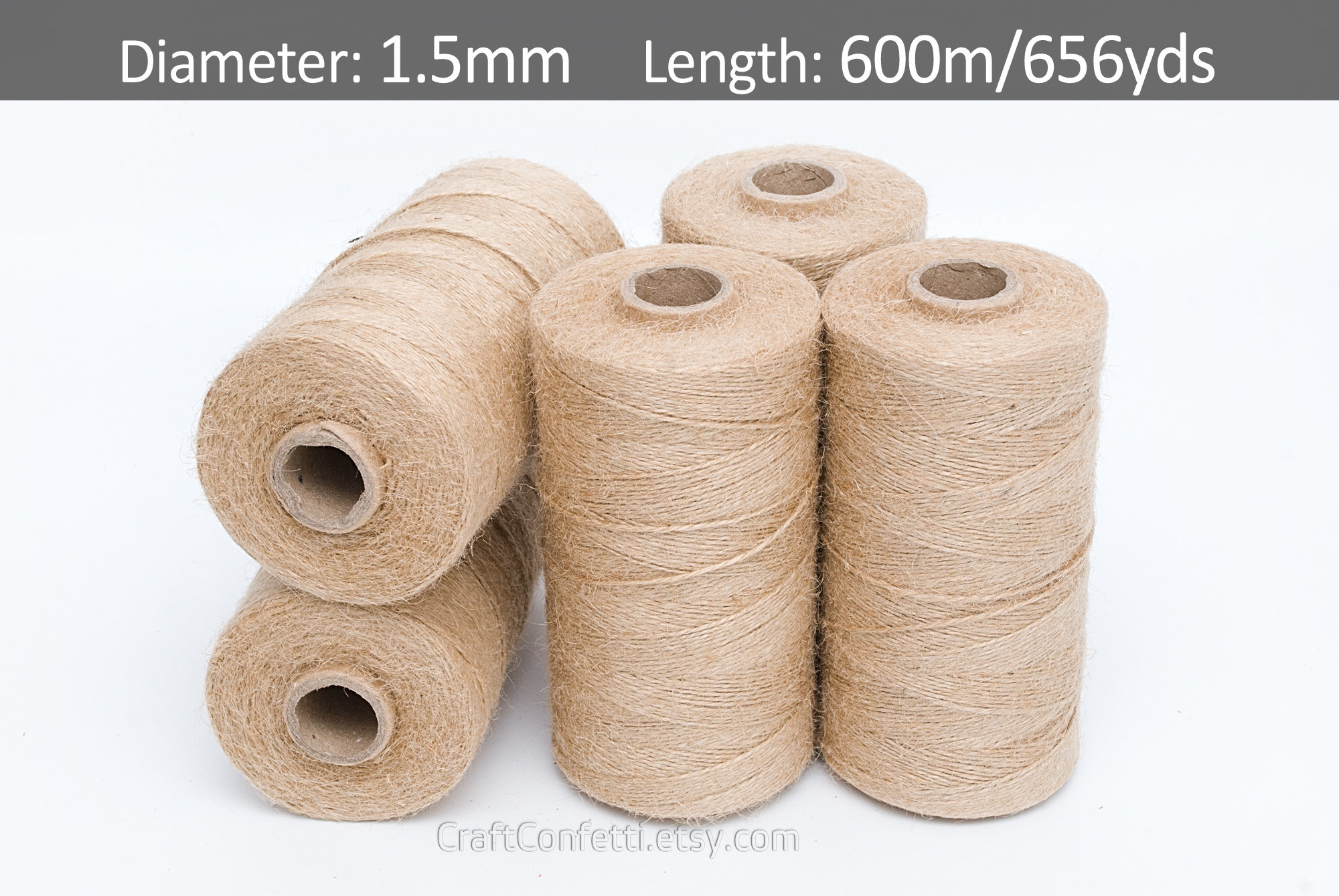 Jute cord 1 5mm Craft twine Twisted jute string Plain twine Gift wrap Tag  string Rustic rope Burlap cord Gardening cord / 600m (656 yards)