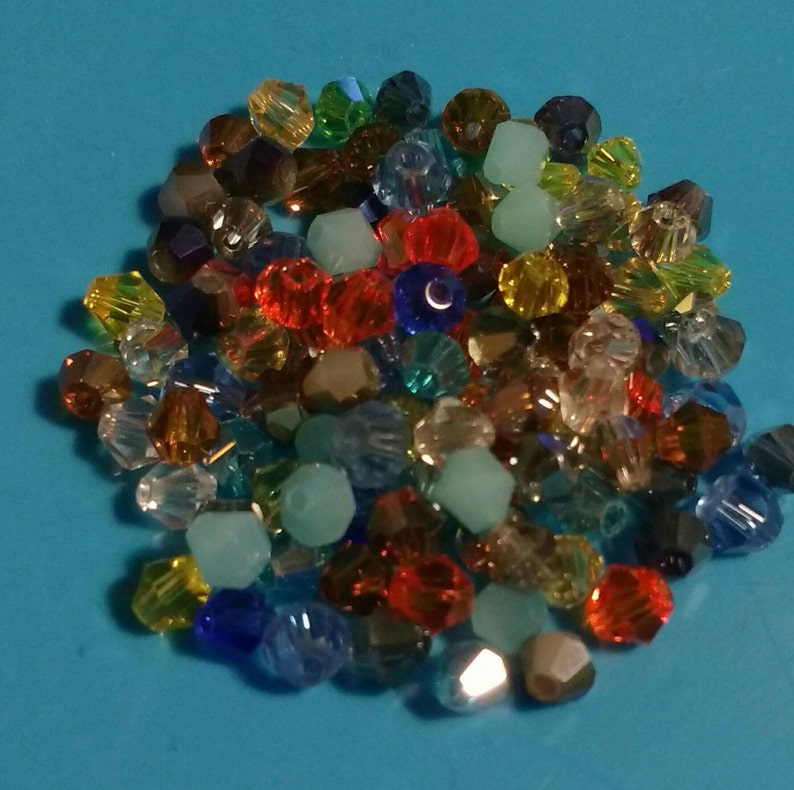 4mm 100 Austrian Crystal Glass Bicone Beads Jewellery Making Crafts Green Mix