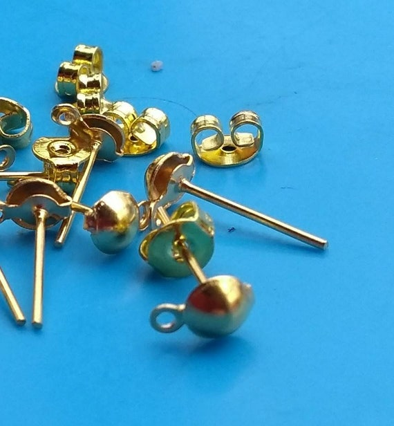 10 20x Gold earring posts half ball and loop blanks findings  c7de9a1a84fb