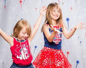 Red & Blue Fireworks 4th of July Backdrop (PTN-ER-044)