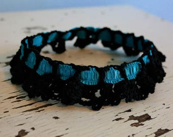 Black & Teal Garter-Large