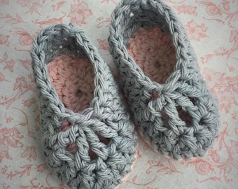 Grey & Pink Baby Booties