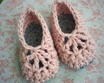 Pink & Grey Baby Booties