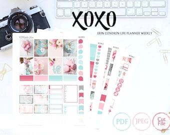 Erin Condren XOXO Kit// Printable Planner Stickers