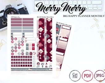 BIG Happy Planner Merry Merry Monthly Kit// Printable Planner Stickers