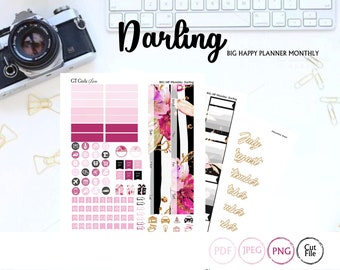 Big Happy Planner Darling Monthly Kit// Printable Planner Stickers