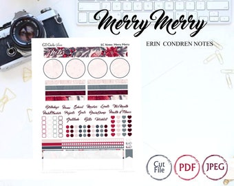 Erin Condren Notes Page- Merry Merry// Printable Planner Stickers